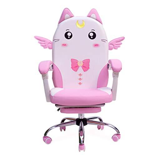 Linda silla de ordenador para el hogar, moderna, simple, para juegos en vivo, silla de oficina, para estudiantes, dormitorio, respaldo giratorio, color rosa
