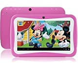 WorryFree Gadgets 7' Kids Tablet Computer, Android 7.1, Quad Core CPU, 8GB Hard Drive, Pre-Installed Games and Apps, Wi-Fi, Dual Camera - Pink