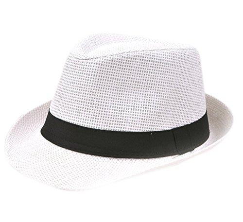 Youkara Erwachsener Strohhut Visier Sommerhut Englischer Papierhut Jazzhut Männlicher Strandhut im Freien Fischer Hut(Weiß)