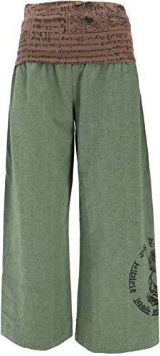 GURU-SHOP, Pantaloni Buddha Goa Benessere Pantaloni Benessere Pantaloni Yoga Pantaloni Hippie Pantaloni Hippie - Verde, Cotone, Dimensione Indumenti:M (38), Pantaloni Lunghi