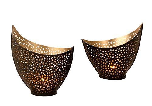 Lifestyle & More Windlichthalter Teelichthalter in Sichelform 2 Größen schwarz/Gold oder rosé-Gold aus Metall Höhe 12+15 cm