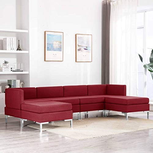 Tidyard 6-tlg. Sofagarnitur Stoff Weinrot 260 x 130 x 65 cm Stoffsofa Couch Loungesofa Sofa Polstersofa Couchgarnitur Polstergarnitur Sitzmöbel Sitzmöbel...