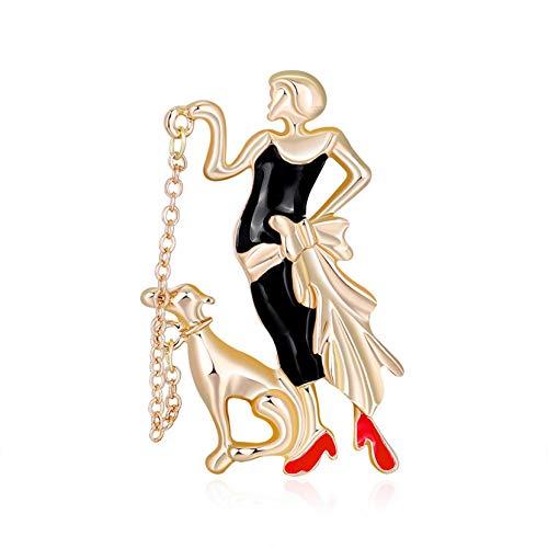 ZJHGQ Linda chica de dibujos animados forma broche de color bailando chica perro ramillete exquisita ropa decoración vestido peto para las mujeres
