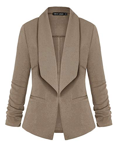 MINTLIMIT 3/4 Sleeve Blazers for Women Open Front Cardigan Buttons Suit Jacket with Pockets Khaki #1 Large