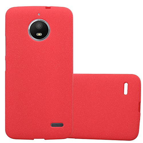 Cadorabo Hülle für Motorola Moto E4 - Hülle in Frost ROT – Handyhülle aus TPU Silikon im matten Frosted Design - Silikonhülle Schutzhülle Ultra Slim Soft Back Cover Case Bumper