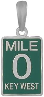 925 Sterling Silver Travel Charm, Small Mile Marker 0 , Key West, Green Enamel