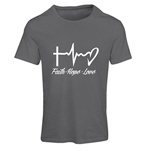 lepni.me Camiseta Mujer Fe - Esperanza - Amor - 1 Corintios 13:13, Citas cristianas y proverbios, Refranes religiosos (XX-Large Grafito Multicolor)