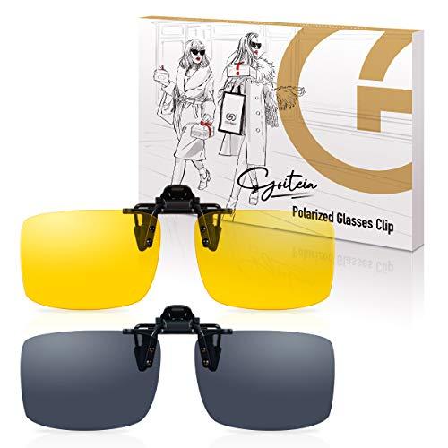 2er-Pack Sonnenbrillen Clip- Sonnenbrille Aufsatz für Brillenträger, Flip up Polarisiert Sonnenbrille zum Aufstecken, Tag Nachtsichtbrille Clip Herren Damen Ideal zum Autofahren Radfahren