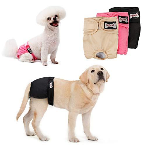 Tineer waschbare weibliche Windeln Wiederverwendbare Welpen auslaufsichere physiologische Windeln Hose für weibliche Hunde (3-Pack) (XL)