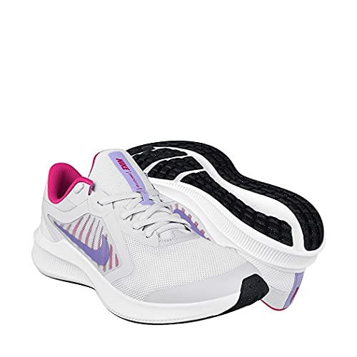 Nike Downshifter 10 (GS), Scarpe da Corsa Unisex-Adulto, Football Grey Purple Pulse THU, 35.5 EU