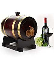 AYNEFY Barril de Vino Barril de Whisky Barril pequeño 1,5L Barril de Madera Premium Dispensador de Barril de Roble con Grifo y tapón Dispensador de Bebidas para almacenar Whisky Cervezas Vino