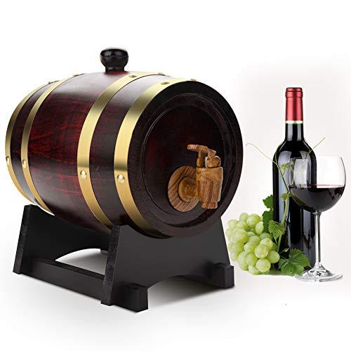 Aynefy, botte di vino, whisky, piccola botte da 1,5 l, in legno di quercia, dispenser con rubinetto e tappo, dispenser per bevande per conservare whisky birra, vino, bourbon, tequila rum