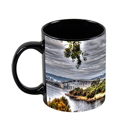 Tasman Bridge Hobart Tasmania Australia - Taza de café de cerámica negra de 325 ml (325 ml), color negro
