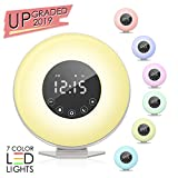 ACETEND Alarm Clock, Wake 6 Nature Sounds, FM Radio, Color Light, Bedside Sunrise Simulator,Touch...