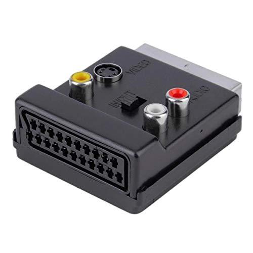 Heaviesk Scart RGB Macho a Hembra - Video 3 RCA Audio AV TV Conector Adaptador SCART Conector convertidor Hembra