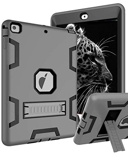 TOPSKY iPad Air Case, iPad A1474/A1475/A1476 Kids Proof Case, Heavy Duty Shockproof Rugged Armor Defender Kickstand Protective Cover Case for iPad Air Grey Black (Renewed)