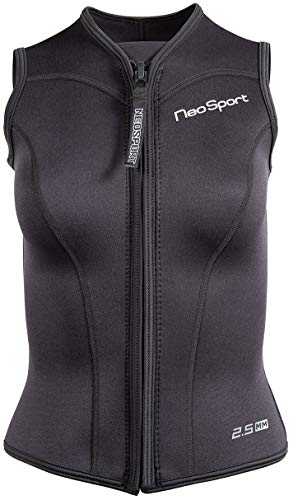 Neo-Sport Men's and  Women's Front Zipper Wetsuit Vest - 2.5mm -4-Way Stretch Neoprene - 50+ UV SHIELD, women's black, 6 (S125WF-01-6)