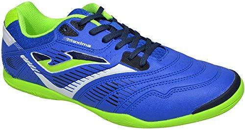 Joma Maxima - Scarpe da calcio a 5 e calcetto, per interni, blu (Colore: blu reale/verde fluo.), 44 EU