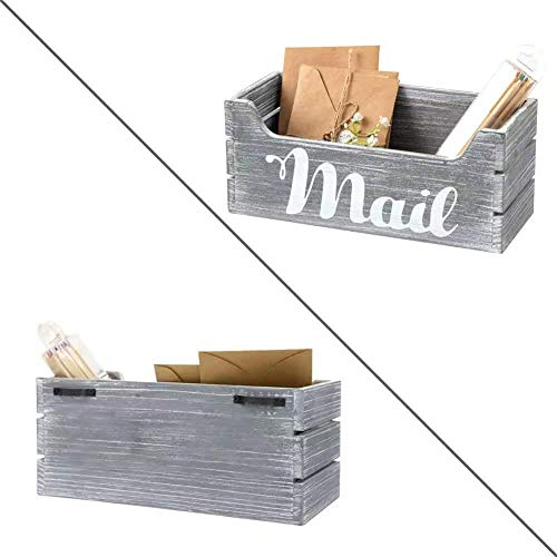 HOSROOME Rustic Wood Mail Organizer with Hook Decorative Wooden Mail Holder for Wall Mail Organizer Countertop Storage Box Office Desk Organizer Rustic Letter Sorter Tray