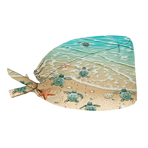 HUGS IDEA Funny Turtles on The Beach Design Working Caps for Women and Men with Sweatband and Adjustable Tie Back Hair Covers Only One Size