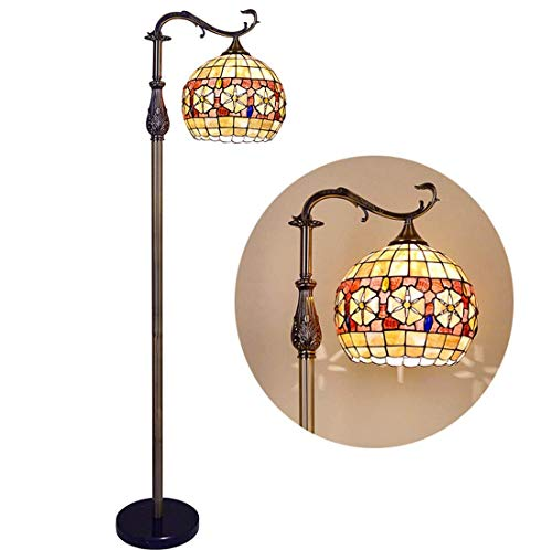 Lámpara de Pie Vintage para Interiores,1 Luz,Encendedor de Piso de Mosaico de Concha Hecho a Mano,Decoración de Base Rústica Antigua,Luz Led de Pie para Dormitorio,Sala de Estar,Oficina,Lectura