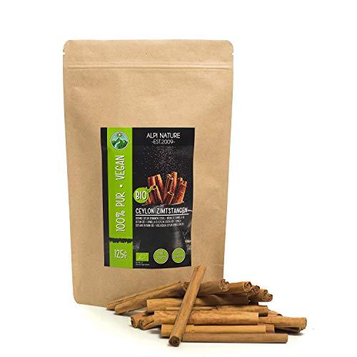 Bastoncini di cannella di Ceylon bio (125g), da coltivazione biologica certificata, senza glutine, senza lattosio, testati in laboratorio, vegani, cannella 100% naturale