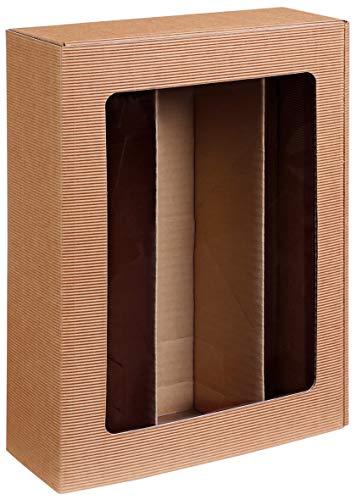 10 Stück Passepartout Natur, 3er Weinkarton, Weinverpackung, Flaschenkarton für DREI Flaschen Wein/Sekt