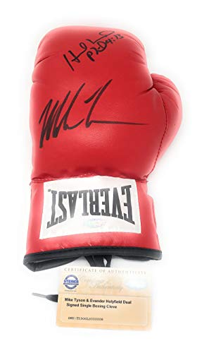 Mike Tyson Evander Holyfield DUAL Signed Autograph Boxing Glove Steiner Sports Certified