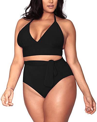 Sovoyontee Women's Black 2 Piece Plus Size High Waisted Tummy Control Swimwear Swimsuit 2XL 16
