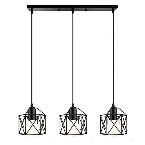 Vintage Lámpara Colgante Retro Industrial 3 Cabezas Luz de Techo Colgante Estilo Nórdico Iluminación Colgante para Cocina Comedor Oficina Salón (Negro-con una barra de techo)