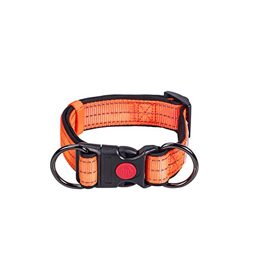 YYLI Dog Collars, Soft Dog Collar Neoprene Padded Reflective Adjustable Breathable Basic Large Small Dog Collars Lightweight Puppy Collar for Walking/Training,Orange,M