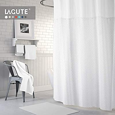 Lagute SnapHook TrueColor Hook Free Shower Curtain | Removable Liner | Machine Washable | See Through Top | White