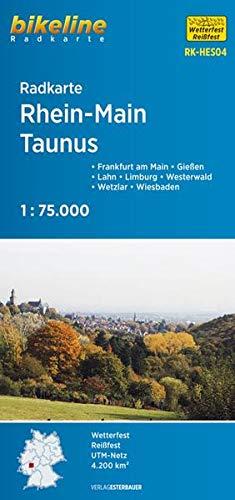 Radkarte Rhein-Main, Taunus (RK-HES04): Frankfurt am Main – Gießen – Lahn – Limburg – Westerwald – Wetzlar – Wiesbaden. 1:75.000, wetterfest/reißfest, GPS-tauglich mit UTM-Netz (Bikeline Radkarte)