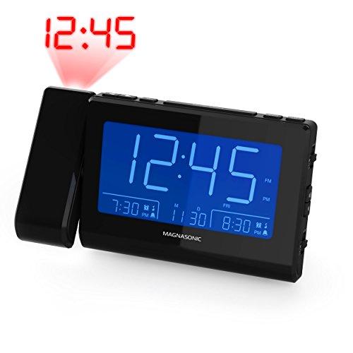 "Magnasonic Alarm Clock Radio with Time Projection, Auto Dimming, Battery Backup, Dual Gradual Wake Alarm, Auto Time Set, Large 4.8"" LED Display, AM/FM (CR62)"