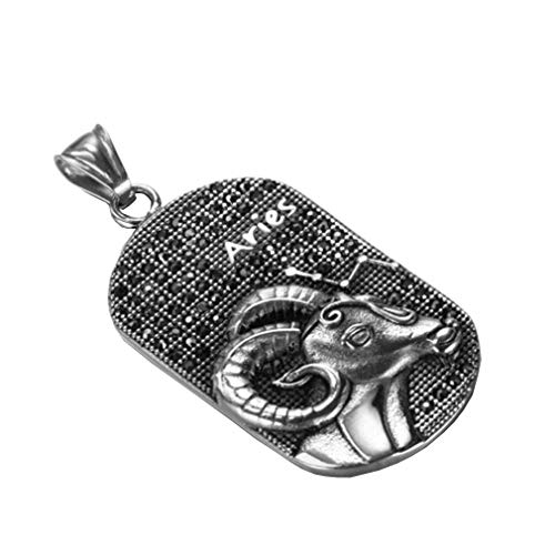 OAKKY Herren Jahrgang 12 Sternbilder Tierkreis Schild Hund Stichworte Anhänger Halsketten Edelstahl Diamant Inlay Silber Widder