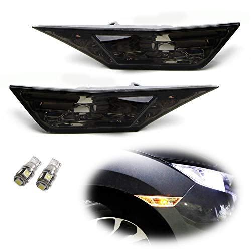 iJDMTOY JDM Smoked Lens Amber LED Bulb Front Side Marker Light Kit Compatible With 2016-21 Honda Civic Sedan/Coupe/Hatchback, Replace OEM Amber Sidemarker Lamps
