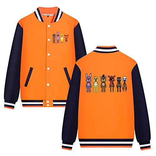 Gbbhretg Five Nights at Freddy's Pullover Baseballuniform Lange Ärmel Oberbekleidung Mit Print Coat Freizeit Vogue Jacke für Jungen und Mädchen (Color : Orange67, Size : 80)