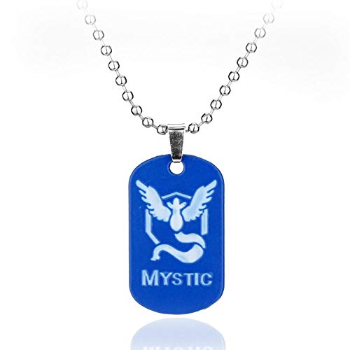 GO Dog Touch Collar Juego Anime Metal Team Valor Mystic Instinct Logo Corales para Mujeres y Hombres-Azul
