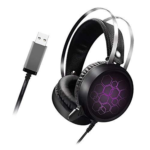 Kaper Go LED-Licht-Spiel-Kopfhörer Mit Mikrofon Over-Ear-Kopfhörer Mit Mic Memory Foam Earpad for PC Laptop-Spiele (Farbe : One Size, Size : Purple)