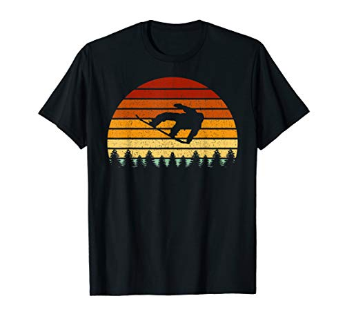 Vintage Sunset Snowboarding Gift For Snowboarders T-Shirt