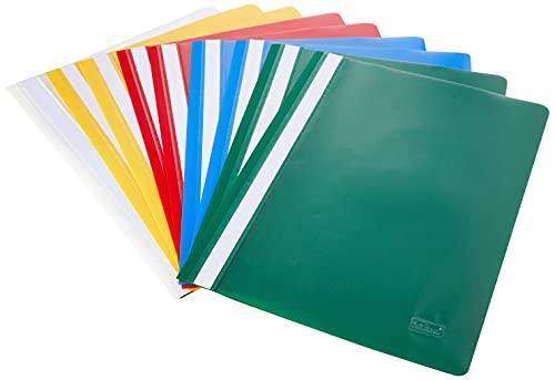 Idena 307007 - Schnellhefter für DIN A4, aus Kunststoff, 10 Stück, 5 Farben, 2 x blau/weiß/gelb/grün/rot