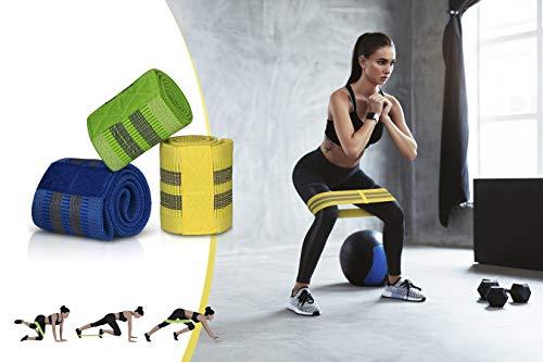 TECHNOSMART Banda Elastica fitness Set de 3, Cinta Elastica para Ejercisio hombre y mujer, Banda Elastica ejercisio Glúteos y Brazos con 3 Niveles