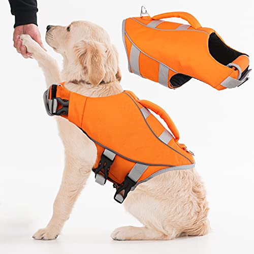Dog Life Jacket Pet Life Vest for Swimming Boating, Ripstop Pet Swimwear with Reflective Stripe for Small Medium Large Dogs, Pet Preserver Puppy Lifesaver with Rescue Handle (Medium, Orange)