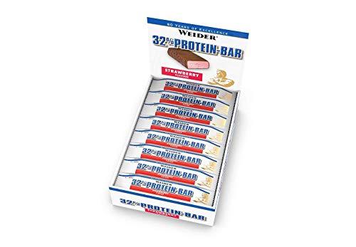 WEIDER 32% Protein Bar, Erdbeere, 24 leckere Eiweißriegel mit zartem Schokoladenüberzug