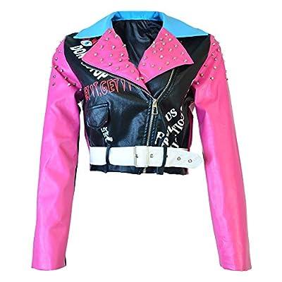 HOMELEX Women's Faux Leather Motorcycle Jacket PU Slim Pink Studded Short Biker Coat (XL)