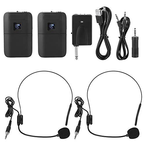 Microphone Casque sans Fil, 2-en-1 Microphone UHF sans Fil Portable Rechargeable avec Émetteur Récepteur Système de Son Audio Haut-Parleur.