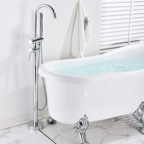 Onyzpily - Miscelatore monocomando per vasca da bagno, cromato, con doccetta a 360°, in ABS