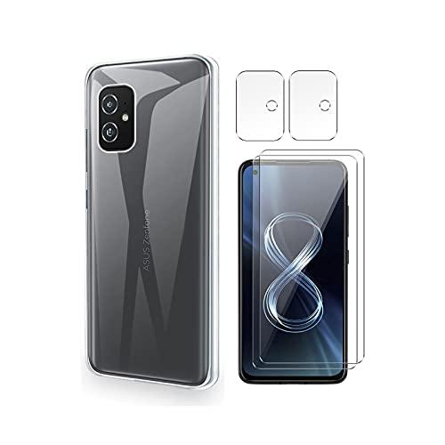 QFSM Schutzhülle Hülle für Asus Zenfone 8 + 2 Stück Panzerglas Schutzfolie + 2 Stück Kamera Schutzfolie - Transparent Weich Silikon Flexibel TPU Handyhülle Tasche Hülle