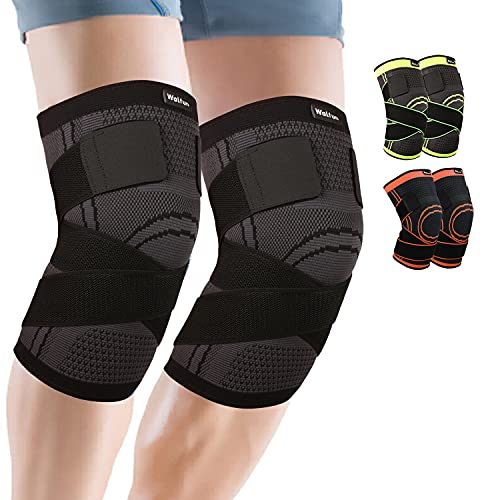 2 Pack Knee Brace,Compression Knee Sleeve with Strap for Women and Men,Knee Support for Meniscus Tear,Running,Basketball,Sports