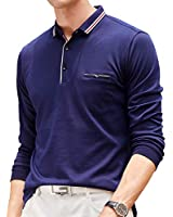 Womleys Mens Casual Slim Fit Long Sleeve Tops Collared T Shirt Polo Shirts (Large, Blue)